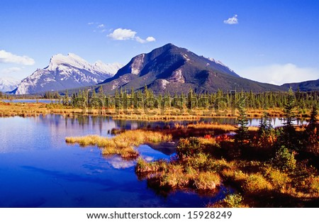 Vermillion Lakes in Banff national park, Canada