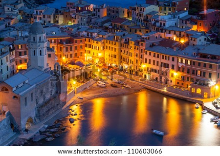 Vernazza at night, Cinque Terre, Italy - stock photo