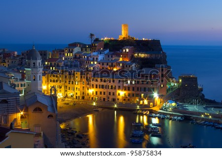 Vernazza at night, Cinque Terre, Itlay