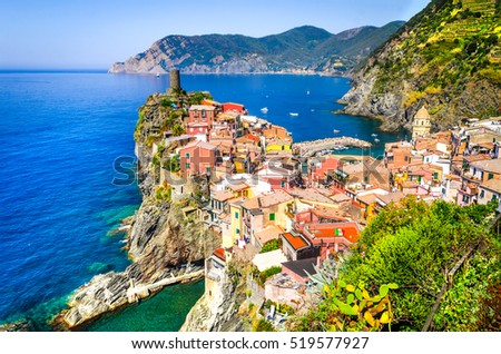 Vernazza, Cinque Terre. View from high hill of with houses and blue Mediterranean Sea, Cinque Terre national park, Liguria, Italy