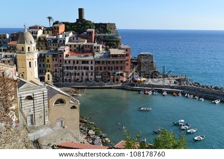Vernazza costal fishermens village, Italy - stock photo