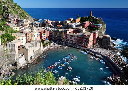 Vernazza fisherman village, Cinque Terre, Italy - stock photo