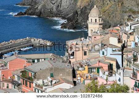 Vernazza fishermen village in Cinque Terre, unesco world heritage in Italy