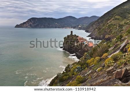 Vernazza fishermen village in Cinque Terre, unesco world heritage in Italy