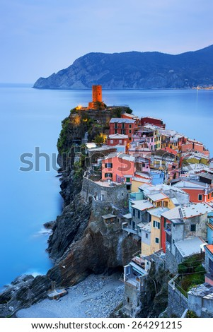 Vernazza village, aerial view on sunset, Seascape in Five lands, Cinque Terre National Park, Liguria Italy Europe. Long Exposure.