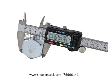 Vernier caliper and screw-bolt on a white background, isolated image
