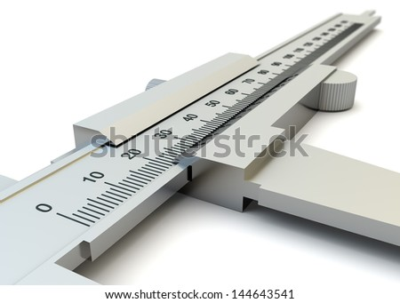 Vernier caliper closeup isolated on white background