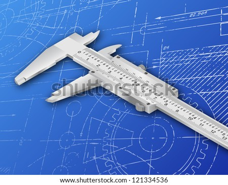 Vernier caliper illustration on a blueprint background