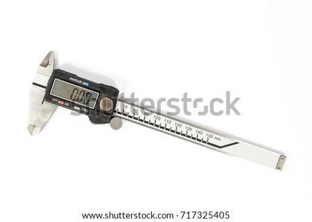 Vernier caliper measuring instrument isolated on white Stock fotó ©