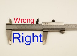 Vernier caliper with word right vs wrong .Antonym concept