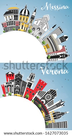 Verona and Messina Sicily Italy City Skylines with Color Buildings, Blue Sky and Copy Space. Business Travel and Concept with Modern Architecture. Cityscapes with Landmarks.