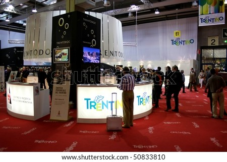VERONA - APRIL 08: Trento DOC stand in the Trentino regional pavilion at Vinitaly, international wine and spirits exhibition April 08, 2010 in Verona, Italy.