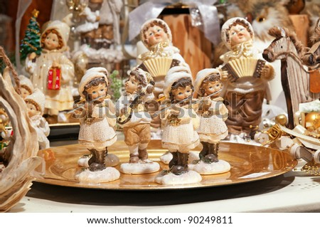 VERONA, ITALY - DECEMBER 3: Christmas market stall with many Christmas decorations on December 3, 2011 in Verona, Italy.