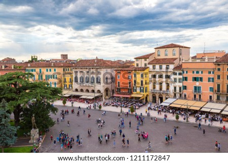 VERONA, ITALY - JUNE 13, 2016: Panoramic aerial view of Verona in a beautiful summer day, Italy #1211172847