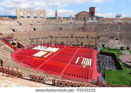 VERONA, ITALY - JUNE 11: Preparation for opera show in the arena of Verona on June 11, 2011 in Verona, Italy.The Verona Arena is a Roman amphitheatre in Piazza Bra.