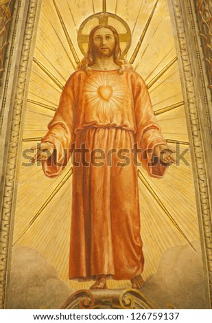 VERONA - JANUARY 28: Fresco of Resurrected Jesus from main apse of church Santa Eufemia on January 28, 2013 in Verona, Italy.