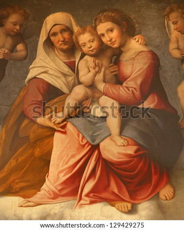 VERONA - JANUARY 28: Paint of Madonna with the child and st. Ann by Francesco Caroto from year 1528 from church San Fermo Maggiore on January 28, 2013 in Verona, Italy