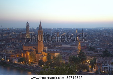 Verona, northern Italy. View of city and river in afternoon sunlight