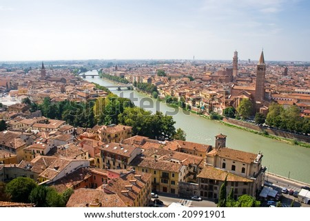 Verona panoramic view from the high hill, Italy
