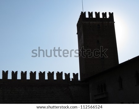 Verona - silhouette of the the famous medieval castle in the city centre
