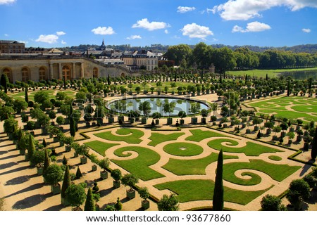 VERSAILLES, FRANCE - OCTOBER 1: Gardens of Versailles Palace on October 1, 2011 in Versailles. The Palace of Versailles is a royal chateau with beautiful gardens and fountains.