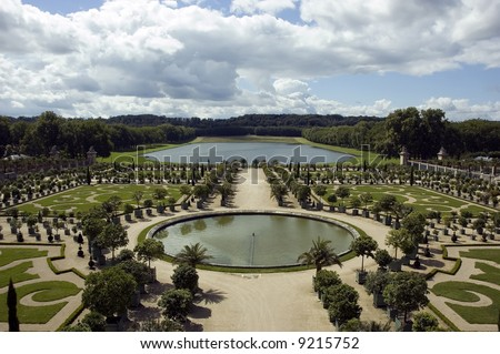 Versailles garden with fountaine and trees