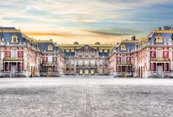 Versailles palace outside Paris at sunset, France