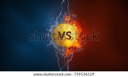 Versus VS sign exploding by elements fire flame, water splashes and lightning. Confrontation, competition, sport games, choice concept. Background for poster or banner. Vertical design with copy space