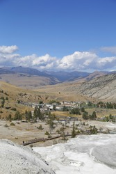 Vertical aerial scenic view of Mammoth Hot Springs in Yellowstone National Park in Wyoming