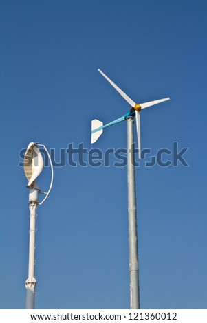 Vertical axis and normal wind turbine