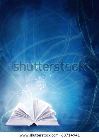 Vertical background of blue color with magic book
