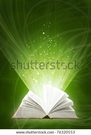 Vertical background of green color with magic book
