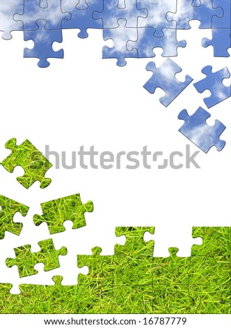 Vertical background with 3d puzzles. Object over white