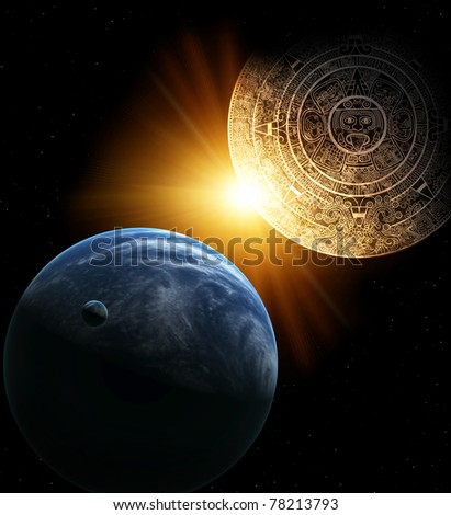Vertical background with Maya calendar and Earth