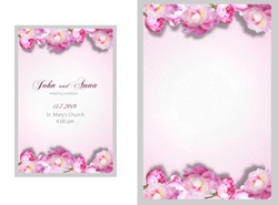 Vertical background with pink lines of peonies suitable for wedding invitation