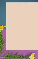Vertical banner with fresh yellow lily flowers on purple and faded denim background. Minimalistic card with blossom on blue and pink colors. Summer flowers on paper with copy space. Top view