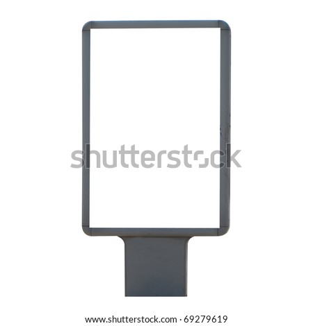 Vertical blank billboard isolated on white background