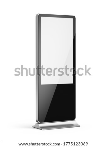 Vertical blank light box LCD screen floor stand isolated on white. Mockup for advertising or information. 3d rendering Foto d'archivio ©