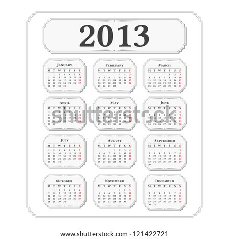 Vertical 2013 calendar, vintage style