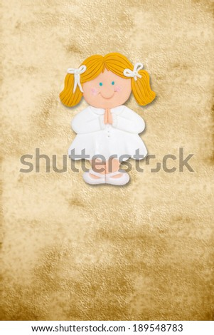 vertical card first communion, funny blond girl in parchment background