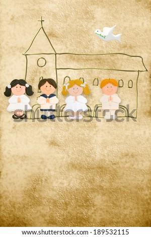 vertical card first communion, happy children in parchment background