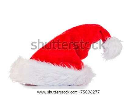 Vertical Christmas hat on a white background