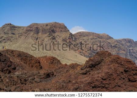 Vertical cliffs Acantilados de Los Gigantes (Cliffs of the Giants). View from Cape Teno (Punta de Teno). Tenerife. Canary Islands. Spain.