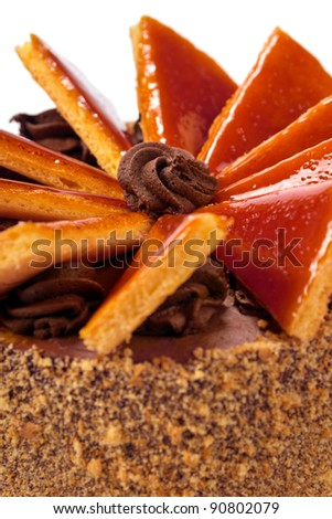 Vertical closeup of famous Hungarian Dobos torte - cake with special frosting