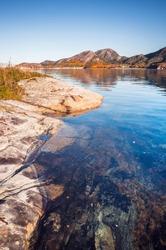 Vertical coastal Norwegian landscape, Snillfjord, Sor-Trondelag, Vingvagen fishing camp