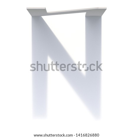 Vertical drop shadow font Letter N 3D render illustration isolated on white background Foto stock ©