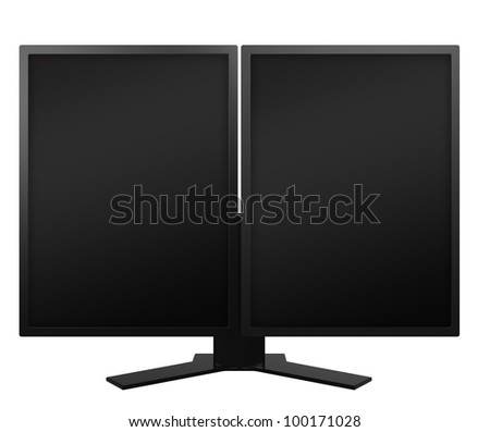 vertical dual displays with black screen