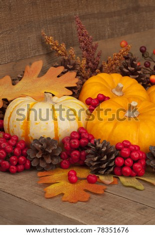 Vertical  Fall Still Life with Pumpkins and Gourd.