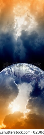 Vertical fantastic background, planet Earth in space, dark sky with clouds, bright sun