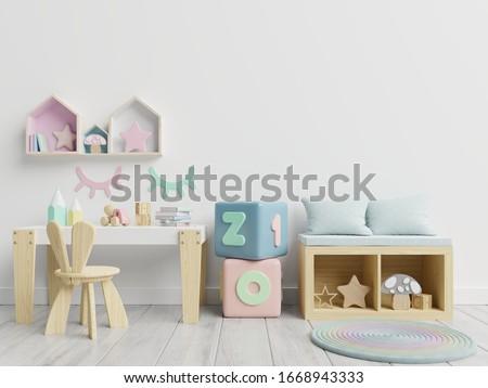 Vertical frame mockup,Interior mockup, kids room, wall frame mockup,nursery mockup,3d rendering